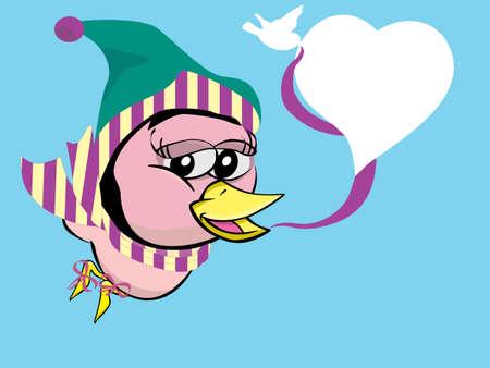 twitter: twitter bird girl on winter with heart style speech bubble