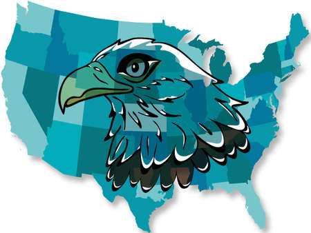 Eagle over the United States map Stock Vector - 7916968