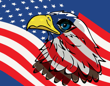 Eagle over the United States flag Vector