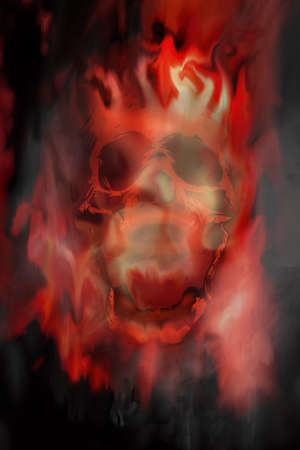 flaming skull photo
