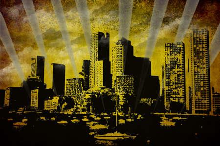 st charles: Boston skyline over St Charles river, illustrationn sullo sfondo del grunge  Archivio Fotografico