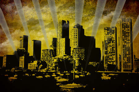 Boston skylines over St Charles river,  illustrationn on grunge background illustration