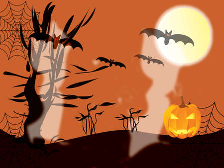 moon: Halloween concept with pumpkin, tree, ghosts, bats, moon and texture