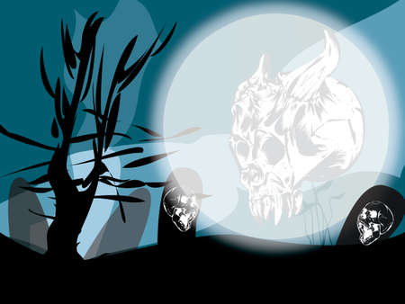 moon: Halloween concept at moonlight with skulls ghosts, moon and tombs