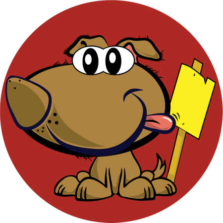 mascot dog with sign, vector  Vector