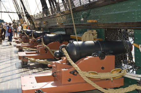 Boston, Mass. USA - September 4th, 2005; canons of   the Old Ironsides or USS Constitution, historic civil war ship, Boston, Massachusetts Stock Photo - 9012561