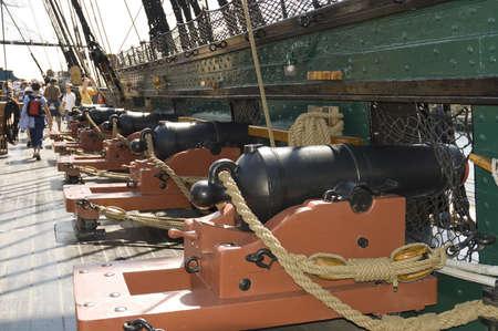 Boston, Mass. USA - September 4th, 2005; canons of   the Old Ironsides or USS Constitution, historic civil war ship, Boston, Massachusetts Stock Photo - 9012561