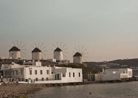 Myconos, Greece - May 7th, 2007; The famous windmills of Mykonos island, Greece