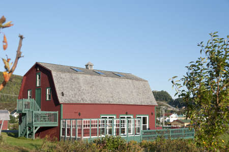 two floors: Gaspe Peninsula, Quebec, Canada - September 18th, 2009; two floors red barn renewed