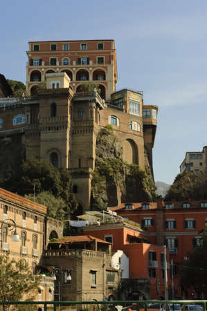 Sorrento, Italy - March 17th 2006 : old style hotel in Sorrento built over the rocks where Enrico Caruso used to stay,  Italy Editorial