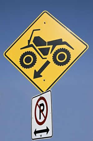 quad: Quebec, Canada - October 5th, 2005 : Quad crossing sign warning in Quebec road, Canada