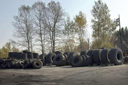 Quebec, Canada - October 5th, 2005 : Truck tires junkyard in Quebec country, Canada Stock Photo - 10105000