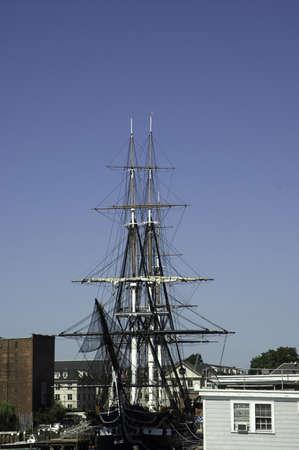 nicknamed:  Boston, Mass, USA - September 4th, 2005 : historic war ship USS Constitution, nicknamed Old Ironsides, built in 1797, in exhibition in  Boston, Mass