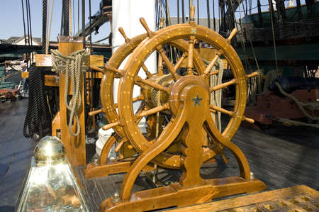 Boston, Mass - September 4th, 2005 : navigation wheel of the old war ship USS Constitution anchored in Boston mass