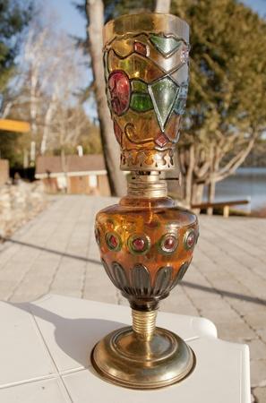 antique  three colors  oil lamp photo