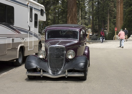 California, USA - May 5th, 2006 :  front view of an old style 1930s Ford Coupe in camping ground in California, USA