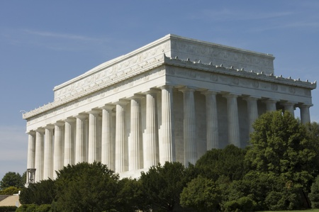 Lincoln Memorial close view, in Washington, D.C.,built to honor 16th President Abraham Lincoln by architect Henry Bacon