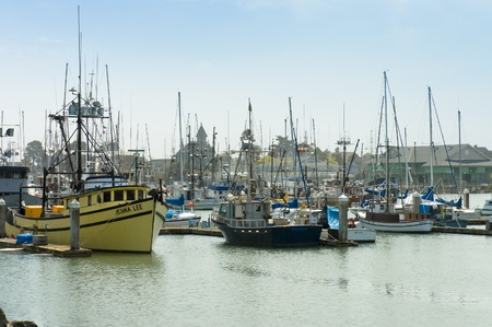 Woodley Island , California -  May 9th, 2006 : boats anchored on Woodley Island Marina,  Humboldt Bay, California Stock Photo - 12339539