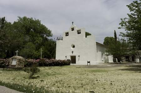 New Mexico, USA - April 24th, 2006   Mexican  Mission church in stuc in New Mexico, USA photo