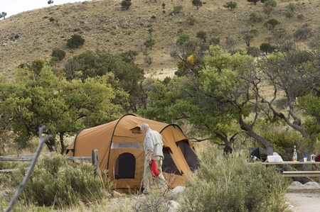 Texas, USA - April 22th, 2006 : senior in camping at Guadalupe National Parks, desertic area, Texas, USA