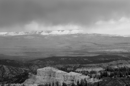 mesas: Utah, USA - April 30th, 2006   cloudscape and scenic view from Yovimpa Point , Bryce Canyon National Park, Utah, USA - black and white picture Stock Photo