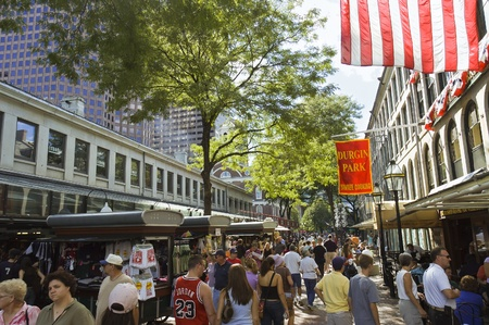 Boston, Massachusetts - September 3th, 2005 :Street scene at Quincy Market  in Boston, Massachusetts with  people shopping and restaurants