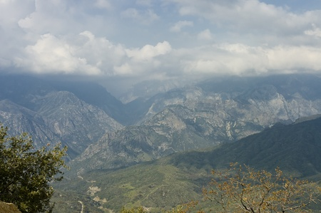 Top view  of Kings Canyon National Park under a beautiful cloudscape, California, USA photo