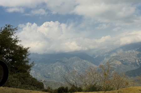 Top view of Kings Canyon of Kings Canyon National Park under a beautiful cloudscape, California, USA photo