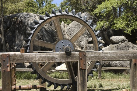 western usa: California, USA - May 5th, 2006 : antique tractor wheel in exhibition on western country of California, USA