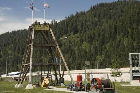 industrial heritage: Kootenai, Idaho - May 15th, 2006 : Mule hoist and evolution shaft used by prospectors in Coeur dAlene at the Mining Heritage Exhibition,  Kootenai County, Idaho, USA