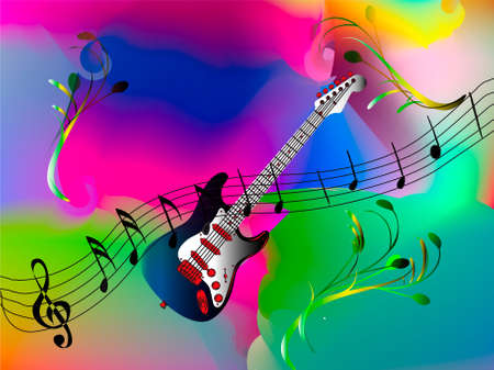 musical note: blue guitar with music notes - mesh work Illustration
