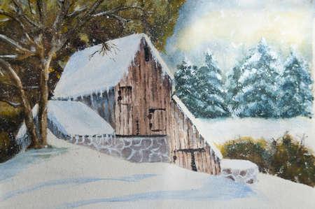 coniferous forest: Invierno canadiense casa rural en acuarela y gouache. (Yo soy el �nico autor de esta obra de arte) Foto de archivo
