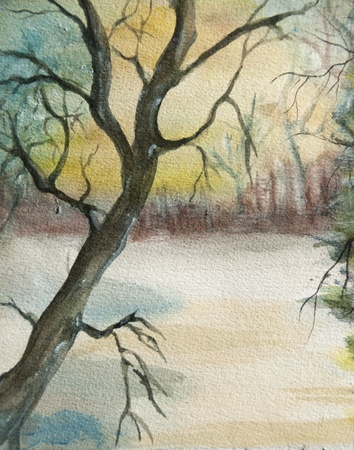 stylishness: Landscape winter watercolor painting at sunset with lonely tree,  handmade on a white paper art  I am the only author of this artwork   Stock Photo