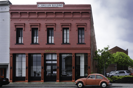 typical: Arcata, California,USA - May 9, 2006 : Illustrative image of a old and  typical Victorian style red building in Arcata, California, USA Editorial