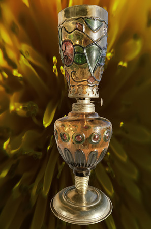 lamp shade: antique three colors  oil lamp isolated on texture background Stock Photo
