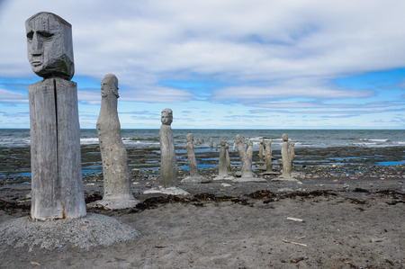 laurence: The Great Gathering - stonework statues leading into the St. Laurence River  in Sainte-Flavie, Gaspesia, Quebec, Canada. Stock Photo