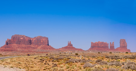 monument valley view: panoramic view of Volcanic rock formation of Monument Valley, Arizona, USA Stock Photo