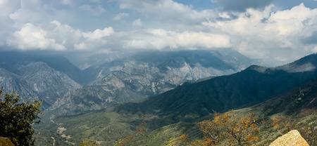 kings canyon national park: panoramic view of Kings Canyon National Park under a beautiful cloudscape, California, USA