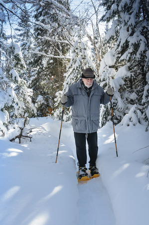 baby boomer: aged senior hiking with sticks and snowshoes in Quebec woods, Canada