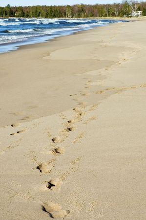 long lake: footprints on a long sandy beach, Superior lake, Michigan Stock Photo