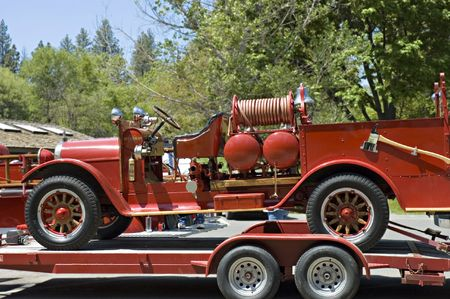 brigade: antique firefighters truck 1940s year,  on parade in California Stock Photo