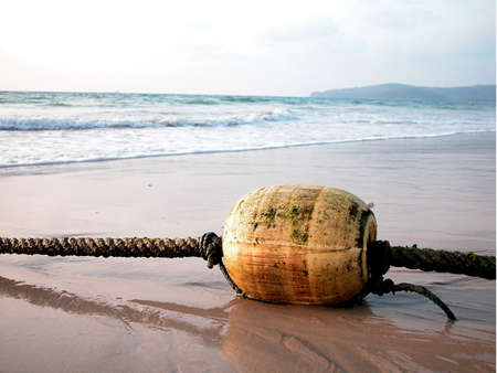 buoys: fishing nets on the beach Stock Photo