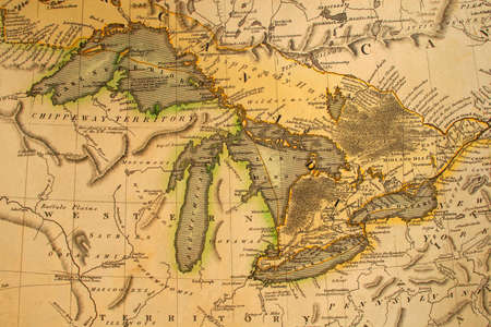 michigan: Early map of the Great Lakes. Printed in Bordeaux, France, 1795.