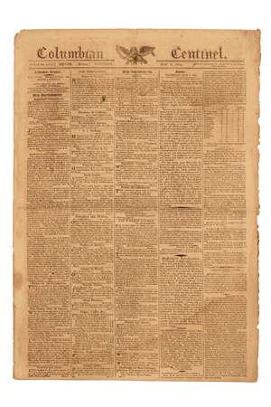 oude krant: Antieke Krant, Columbiaanse Centinel van Boston, gepubliceerd 6 mei 1809. Stockfoto