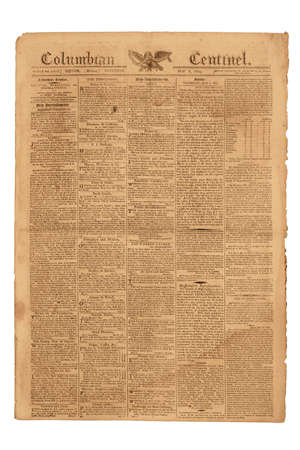 Antique Newspaper, Columbian Centinel of Boston, published May 6, 1809.