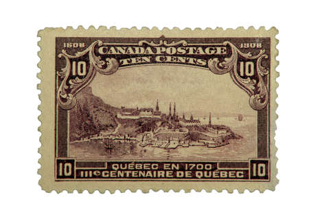 Canadian Postage Stamp of Quebec Citys 300th Anniversary, printed in 1908.