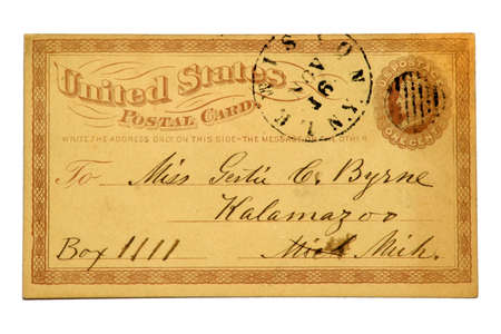 issued: Very early US Post Card issued in 1879 with an imprinted one cent Liberty stamp. Stock Photo