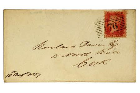 非常に早いイギリスのエンベロープ 1 セント「ペニー赤」スタンプ付 1857年。