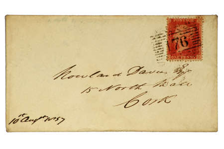Very early British envelope with a one cent Penny Red stamp dated 1857.