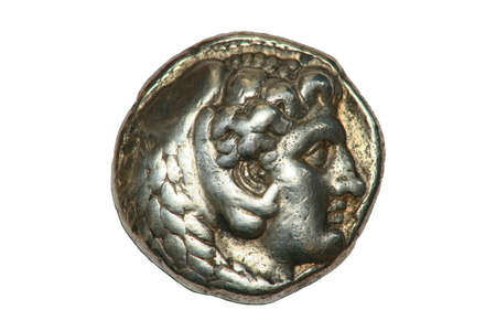Greek silver Tetradrachm coin from Alexander the Great showing Zeus, dated 336-323BC.